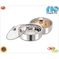 Nano9 Stainless Steel Chapati Pot/Container/Casserole (Medium)