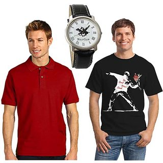 Set Of 1 Polo Neck T-shirt And 1 Round Neck T-shirt With Polo Watch SKCT 216