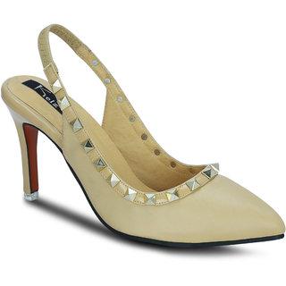 Kielz Girls Beige Slip on Heels ]F-2896-BEIGE