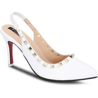 Kielz Girls White Slip on Heels ]F-2896-WHITE