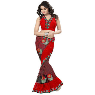 Attractive Red colour Party wear Designer Embroidered saree with net patch work available at ShopClues for Rs.1150
