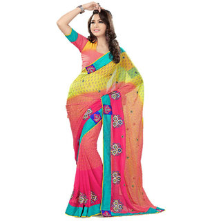 Pinkish Lemon Broad bordered Embroidered Party wear Designer saree available at ShopClues for Rs.1150