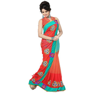Turquoise Red Broad bordered Embroidered Party wear Designer saree available at ShopClues for Rs.1150