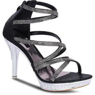 Kielz Girls Black Zip Heels ]F-2651-BLACK