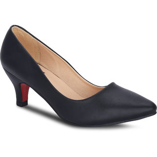 Kielz Girls Black Slip on Heels ]F-2617-BLACK