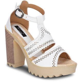 Kielz Girls White Buckle Heels ]M-5449-WHITE