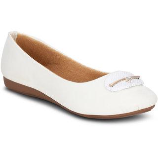 Kielz Girls White Round Toe Bellies ]KP-1102-WHITE