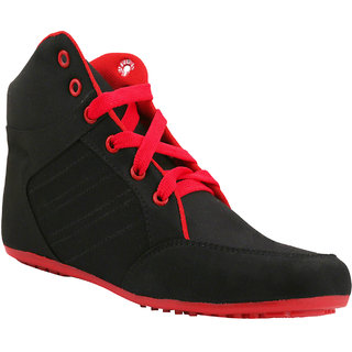 Hansx Girls Black Red Lace-up Casual Shoes GS-HNSX-1222Black-Red