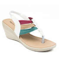Adjoin Girls White Casual Velcro Wedge Sandals ]AS_W42_White