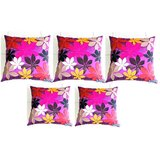 Felt Flower Patch Cushion Cover Purple 30/30 Cm(5 Pcs Set)