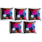 Felt Flower Patch Cushion Cover Blue 30/30 Cm(5 Pcs Set)