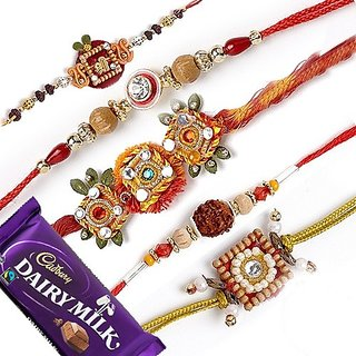 Combo Of 5 Assorted Designer Rakhi.