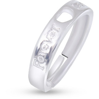 Fasherati silver plated heart forever love band rings for girls