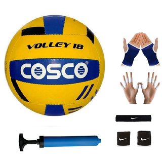 Cosco Volley 18 Volleyball with Black Headband Air Pump Free Pair of Wrist Band Palm Support Finger Support
