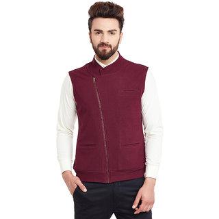 Hypernation Solid Mens Maroon Side Zipper Waistcoat