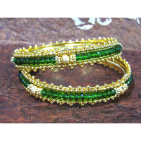 Golden and Green Glass Beads Bangles Set of 2