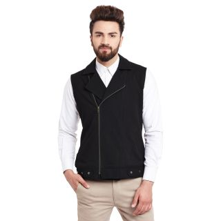 Hypernation Solid Mens Black Side Zipper Waistcoat
