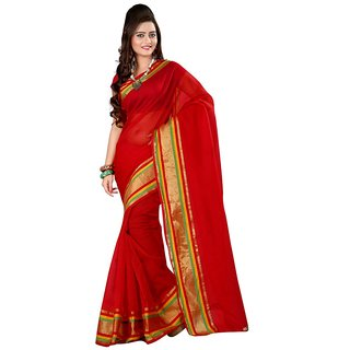 Indian Beauty Red Cotton Dotted Saree Without Blouse