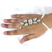 White Pearl Tilak Stone Bracelet with Ring