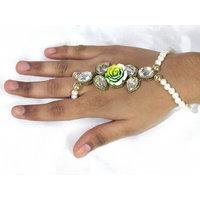 White Pearl Flower Bracelet with Ring