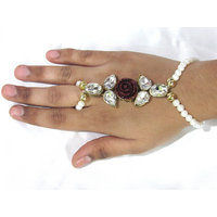 White Pearl Maroon Flower Bracelet with Ring