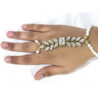 White Pearl Square Stone Bracelet with Ring