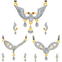 Sukkhi Multicolor Contemporary Alloy Wedding Gold Plated 3 Mangalsutra & 3 Pair Of Earring (Set Of 3)