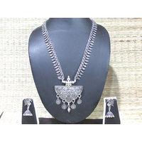 Antique Leaf Layer Jhumka Necklace Set