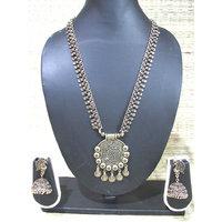 Antique Leaf Layer Round Big Pendant Necklace Set