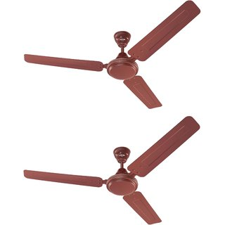 Eveready 1200mm FAB M Brown Ceiling Fan Pack of 2 with Led Bulb Free