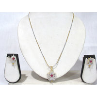 Two Tone Pink Stone AD Pendant Chain Necklace Set