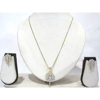 Two Tone AD Pendant Chain Necklace
