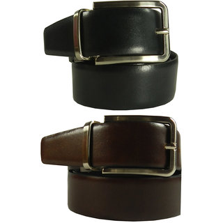 Silverbull Reversible Black Brown Italian Leather Belt (Option - 4)
