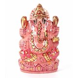 Divine Soul Retreat Rose Quartz Gold Crafted Crystal Ganpati ( Pink )