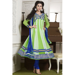 Green & Off White Net Embroidered Anarkali Suit