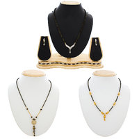 Luxor Multicolor Contemporary Alloy Formal Gold Plated 2 Mangalsutra  1 Mangalsutra Set (Combo)