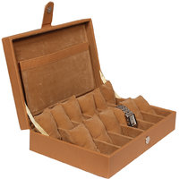 Leather World Tan Leatherite Watch Box Case for 12 Watches