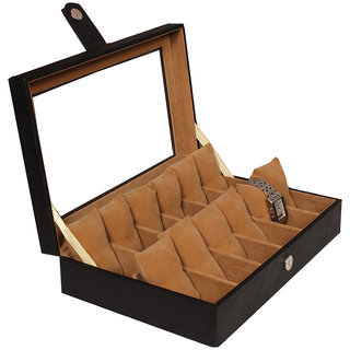 Leather World Black PU Leather Watch Box Case for 12 Watches