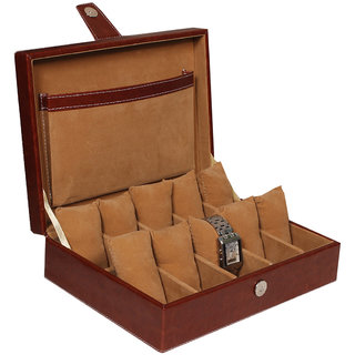 Leather World Brown High Quality PU Leather Watch Box for 10 Watches