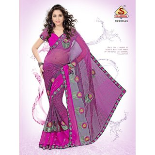Grape Wine colour Party wear Designer Embroidered saree with net patch work available at ShopClues for Rs.1150
