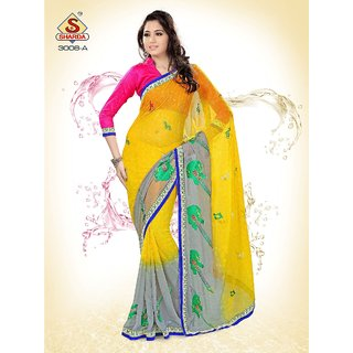 Contemporary Embroidered Iconic Party wear Neon Yellow Designer saree available at ShopClues for Rs.1150