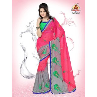 Contemporary Embroidered Iconic Party wear Neon Pink Designer saree available at ShopClues for Rs.1150