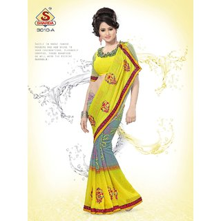 Grey Yellow Party wear Designer Embroidered saree with Pearl Handwork available at ShopClues for Rs.1150