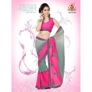 Grey Pink Party wear Designer Embroidered saree with Pearl Handwork available at ShopClues for Rs.1150