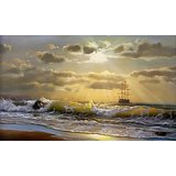 Wall Decor Waves In Turbulence On A Sea Shore At Dawn Printed Canvas