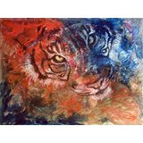 Wall Decor Abstract Tiger In Fierce Colors Printed Canvas