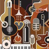 Wall Decor Vector Art Of Musical Instruments In One Place Printed Canvas