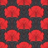 Wall Decor Red Flowers On Black Base Printed Canvas