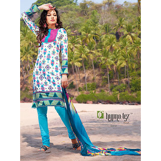 Hypnotex Blue And Off White Pure Cotton Dress Material