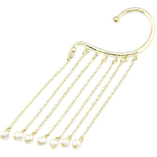 Gold Pearl Dangler Ear Cuff Earring